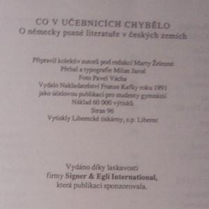 antikvární kniha Co v učebnicích chybělo. O německy psané literatuře v českých zemích, 1991