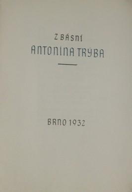 náhled knihy - Z básní Antonína Trýba; číslo výtisku 127