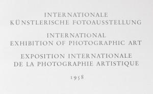 antikvární kniha Internationale kunstlerische fotoausstellung, International exhibition of photografic art  , 1958