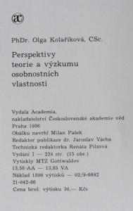 antikvární kniha Perspektivy teorie a výzkumu osobnostních vlastností, 1986