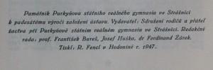 antikvární kniha Památník Purkyňova st. reálného gymnasia ve Strážnici k padesátému výročí založení ústavu Jubilejní památník gymnasia ve Strážnic, 1947