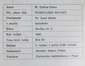 náhled knihy - Tuskulské hovory, 1948