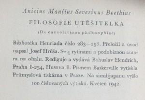 náhled knihy - Filosofie Utěšitelka = (De consolatione philosophiae), 1942