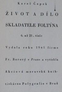 náhled knihy - Život a dílo skladatele Foltýna, 1941