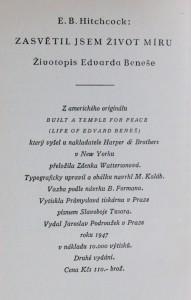 náhled knihy - Zasvětil jsem život míru : životopis Edvarda Beneše, 1947