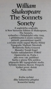 náhled knihy - The sonnets, sonety , 1999