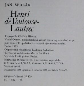náhled knihy - Henri de Toulouse- Lautrec , 1985