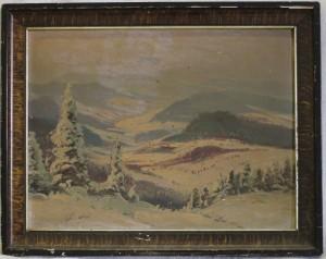 náhled knihy - Zimní krajina, olej na sololitu
