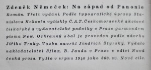 antikvární kniha Na západ od Panonie , 1940
