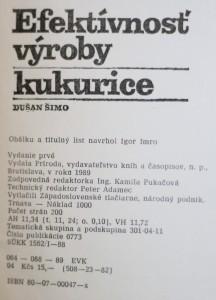 antikvární kniha Efektívnosť výroby kukurice, 1989