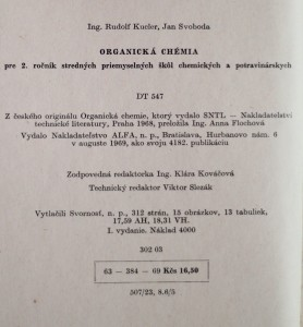 antikvární kniha Organická chémia , 1968