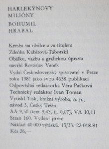 antikvární kniha Harlekýnovy milióny , 1981