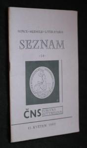 náhled knihy - Seznam: mince, medaile, literatura, č. 34
