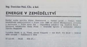 antikvární kniha Energie v zemědělství , 1985