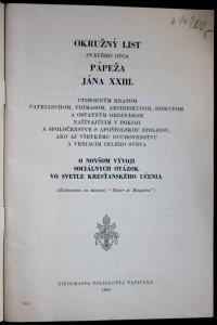 antikvární kniha Okružný list svätého otca pápeža Jána XXIII ctihodným bratom patriarchom, primasom, arcibiskupom, biskupom a ostatným ordinárom ... o novšom vývoj sociálnych otázok vo svetle krasťanského učeni, 1961