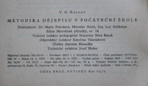 antikvární kniha Metodika dějepisu v počáteční škole, 1953
