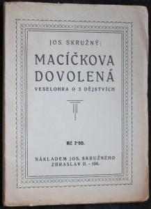 náhled knihy - Macíčkova dovolená : veselohra o 3 děj.