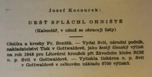 antikvární kniha Dešť spláchl ohniště : (kalendář, v němž se obracejí listy), 1949