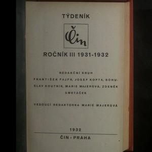 antikvární kniha Týdeník Čin (III. ročník, 1931-1932), 1932