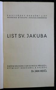 antikvární kniha List sv. Jakuba, neuveden