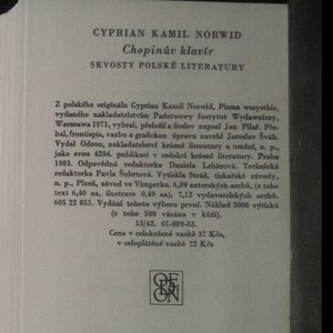 antikvární kniha Chopinův klavír, 1983