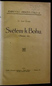 antikvární kniha Světem k Bohu : Obrana víry, 1914