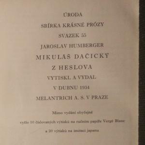 antikvární kniha Mikuláš Dačický z Heslova, 1934