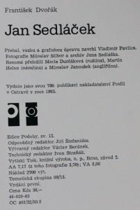 antikvární kniha Jan Sedláček : [monografie], 1983