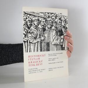 náhled knihy - Historický význam Kralické tiskárny (chybí tiráž)