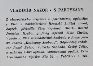 antikvární kniha S partyzány, 1947