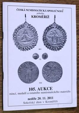 náhled knihy - 105. Aukce mincí, medailí a ostatního numismatického materiálu - neděle 20. 11. 2011