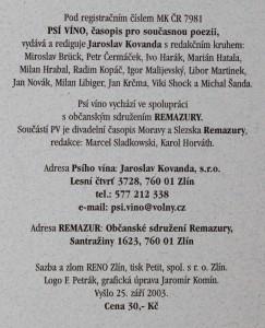antikvární kniha Psí víno, číslo 26, ročník VII., 2003