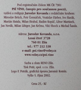 antikvární kniha Psí víno, číslo 22, 2002
