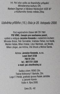 antikvární kniha Psí víno, číslo 14, 2000