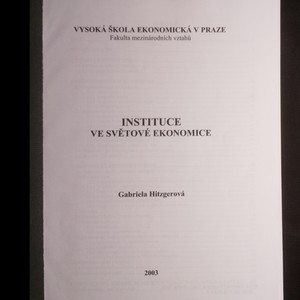 antikvární kniha Instituce ve světové ekonomice, 2003