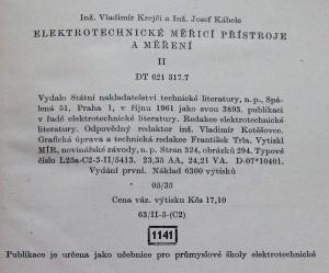 antikvární kniha Elektrotechnické měřicí přístroje a měření : Učeb. text pro 4. roč. prům. škol elektrotechn. 2. [díl], 1961