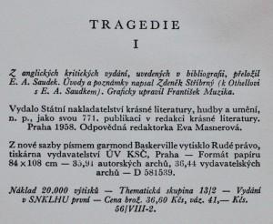antikvární kniha Tragedie. Díl 1., 1958