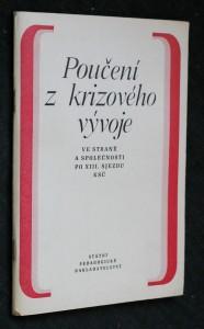 náhled knihy - Poučení z krizového vývoje ve straně a společnosti po 13. sjezdu KSČ