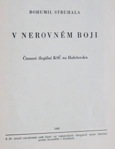 antikvární kniha V nerovném boji : Činnost ilegální KSČ na Holešovsku, 1965