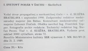 antikvární kniha I. svetový pohár v šachu 1988/1989, 1989