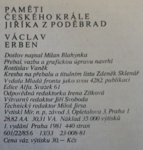 antikvární kniha Paměti českého krále Jiříka z Poděbrad. [Díl 3], Zrání : od brněnského sněmu v létě 1435 do smrti císaře Zikmunda ve Znojmě v prosinci 1437, 1981