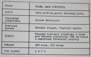 antikvární kniha Drama jako struktura , 1971
