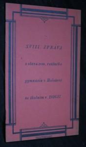 náhled knihy - XVIII. zpráva o stavu zemského reálného gymnasia v Holešově ve školním roce 1926-1927