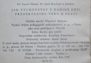 antikvární kniha Jak vychovávat v rodině děti předškolního věku k práci, 1958