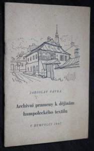 náhled knihy - Archivní prameny k dějinám humpoleckého textilu