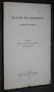 náhled knihy - Za Karlem Adámkem : pohrobní vzpomínka