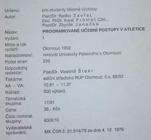 antikvární kniha Programované učební postupy v atletice, 1992