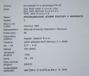 antikvární kniha Programované učební postupy v akrobacii, 1993