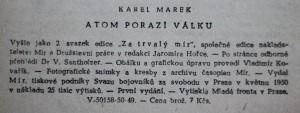 antikvární kniha Atom porazí válku, 1950