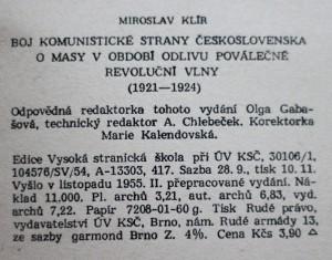 antikvární kniha Boj Komunistické strany Československa o masy v období odlivu poválečné revoluční vlny (1921-1924), 1955